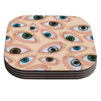 KESS InHouse Eyes by Alisa Drukman Eyeballs Coaster