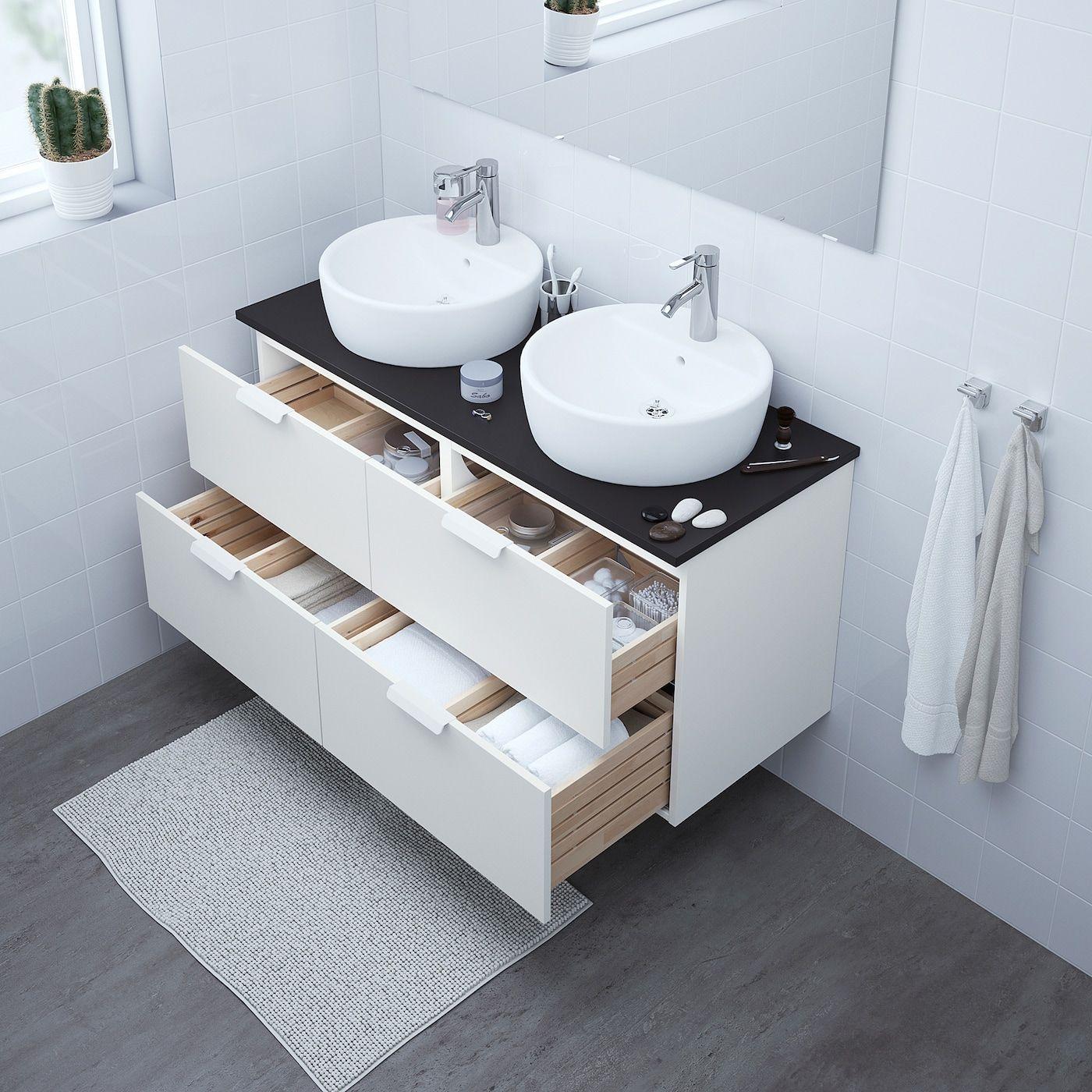 Godmorgon Tolken Tornviken Bathroom Vanity White Anthracite Dalskar Faucet 48x19 1 4x29 1 8 122x49x74 Cm In 2020 Ikea Godmorgon White Vanity Bathroom Sink Cabinet