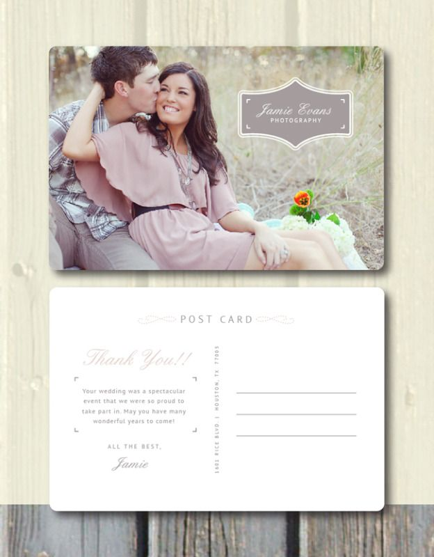 Thank You Postcard Photography Template Bittersweet Design