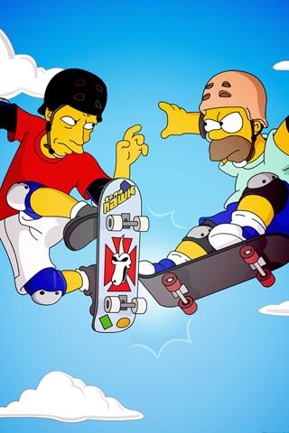 Tony Hawk X Homer Simpson Android Wallpaper HD Cartoon