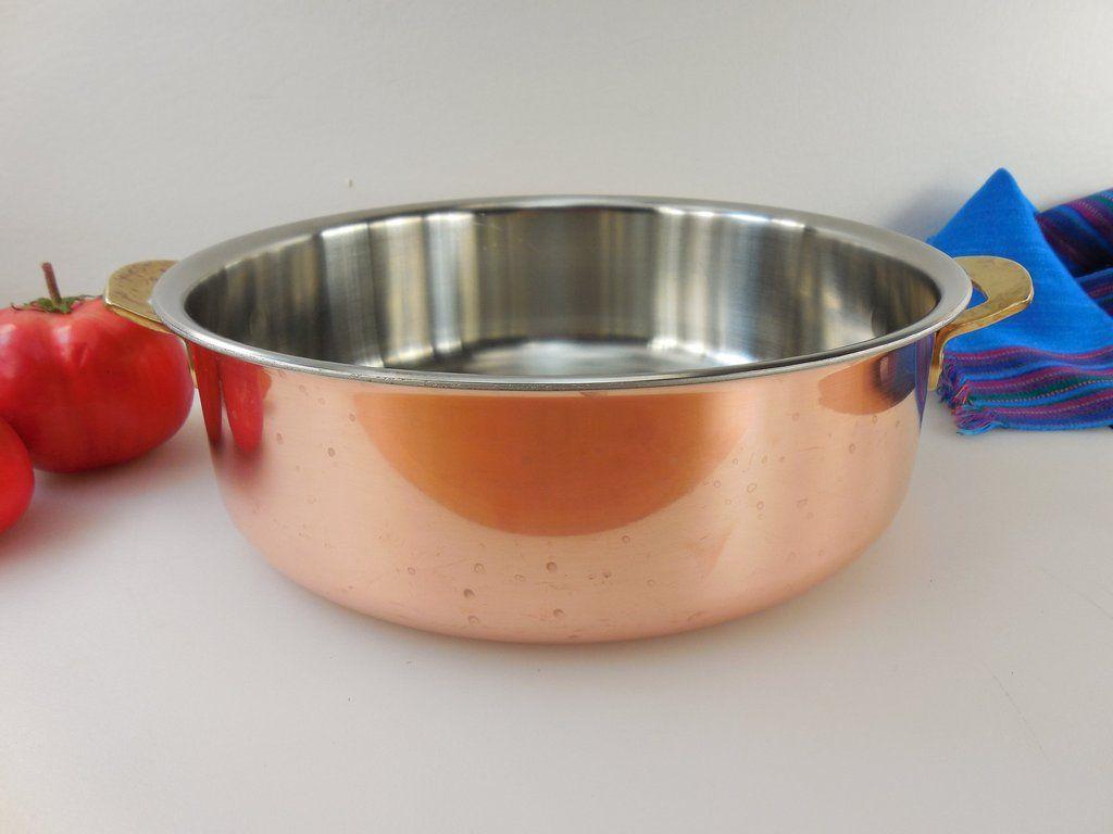 Spring Culinox Switzerland Copper Br Stainless Cookware 4 Quart Open Brasier Or Pot No Lid Vintage 1980s