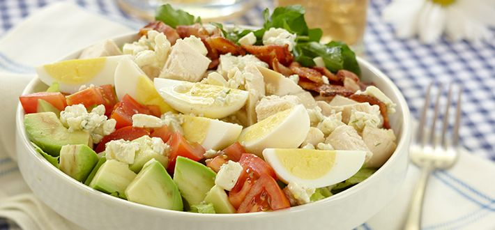 Cobb Salad- When all you feel like is a salad, this classic Cobb Salad makes a deliciously-good meal. Combine romaine, Boston and iceberg greens, watercress and fresh chives with chopped avocado, chicken, bacon, tomato and hard-boiled egg. Toss with a light and flavourful Roquefort cheese dressing. Dinner's ready!