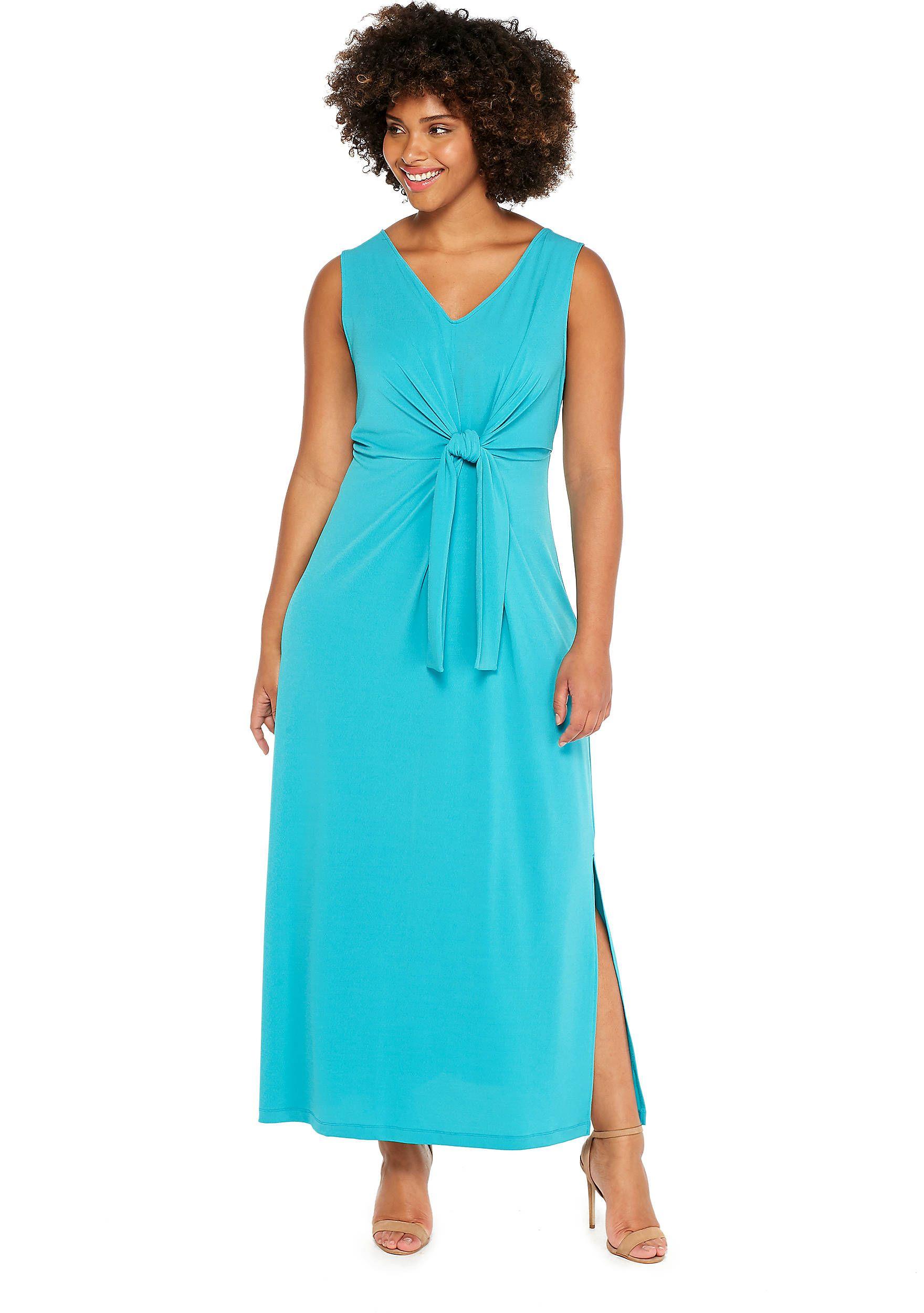 44b7739ef5f Plus Size Tie Front Halter Top High Low Dress