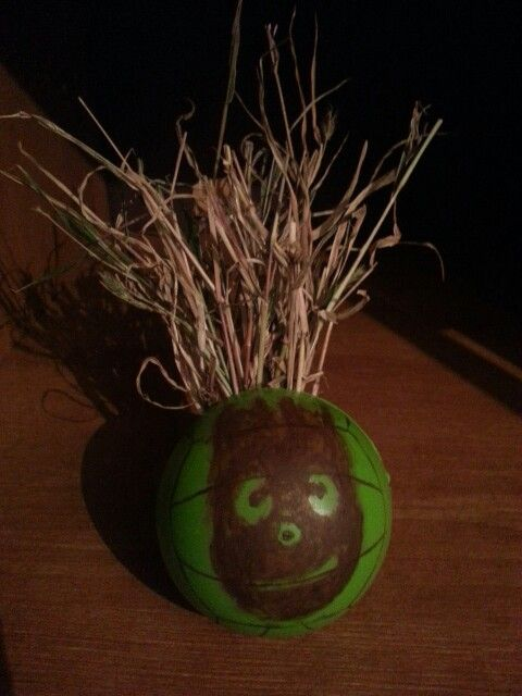 At work, our health insurance provider passed out stress balls. This is what I did with mine.  : ) WIIIIIILLLLLSOOOOONN!!!!!!!!!!!!!!