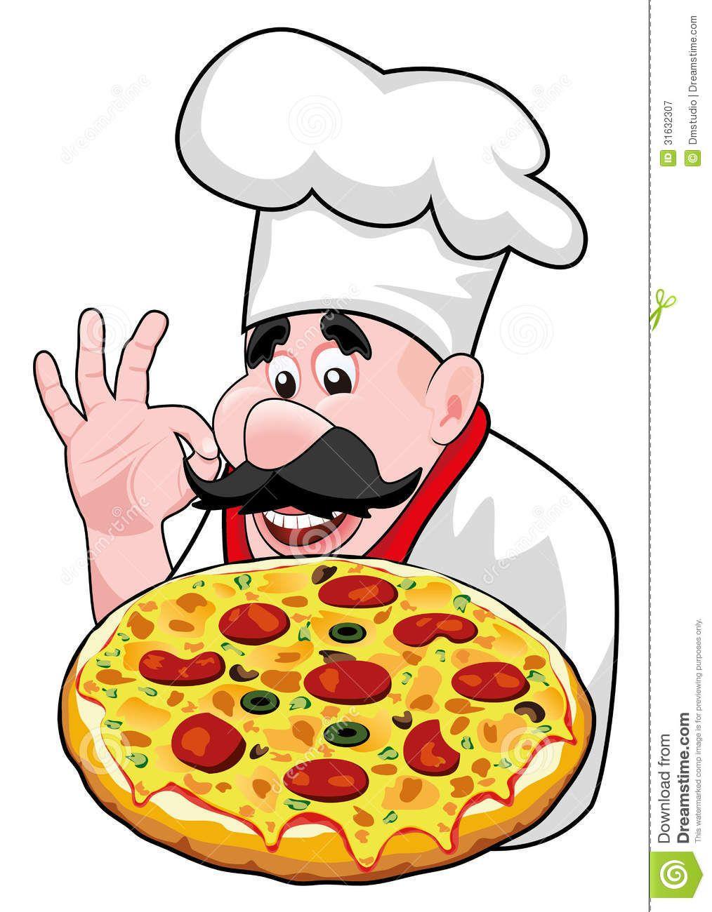 Vector Cartoon Chef With Italian Pizza Pizza Chef Cartoon Chef Happy Paintings