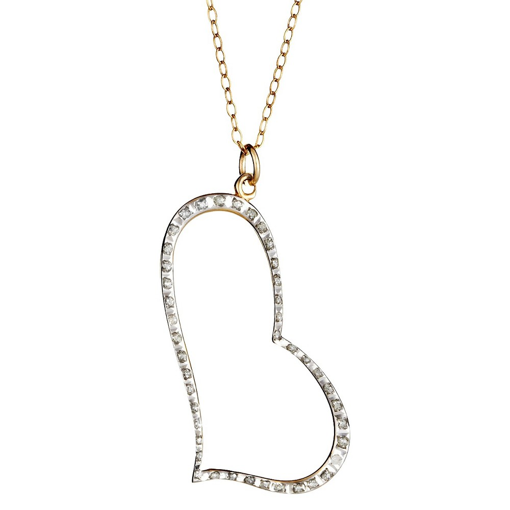 Sterling Silver Heart Pendant Necklace with Diamond Accents Yellow