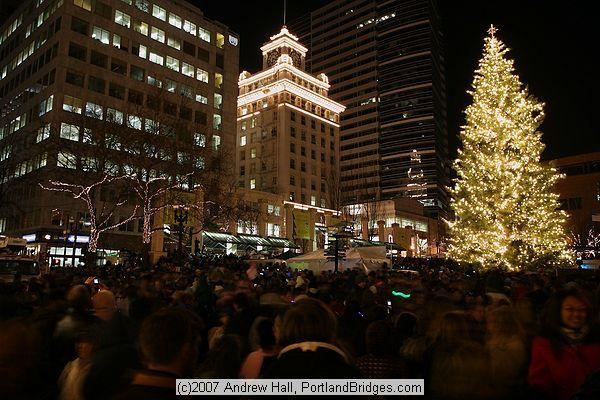 portland christmas tree lighting 2007 pioneer courthouse square