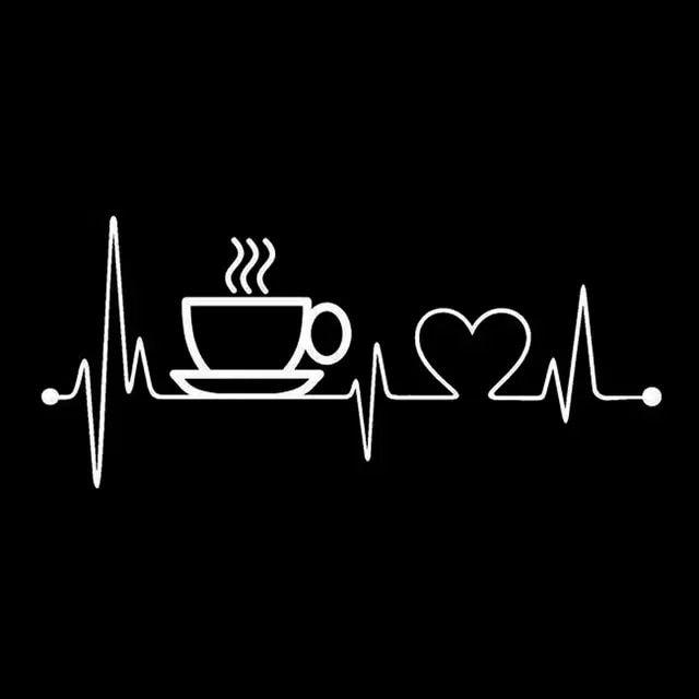 online shop 17 cm 7 6 cm kaffee sup herzschlag mode vinyl aufkleber autozubeh r schwarz silber. Black Bedroom Furniture Sets. Home Design Ideas