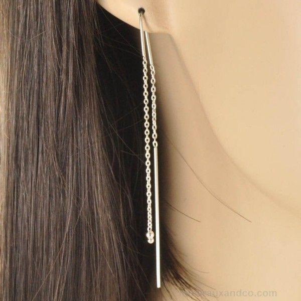 Longue boucle d'oreille pendante argent