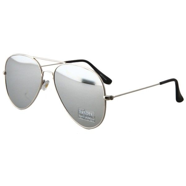 Silver Full Frame Sunglasses (8.79 BAM) via Polyvore featuring accessories, eyewear, sunglasses, silver glasses i silver sunglasses