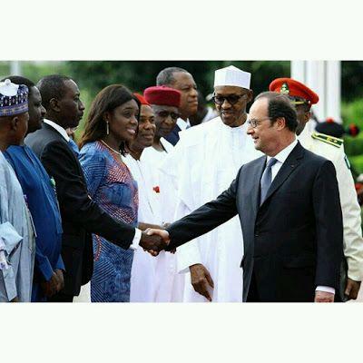 French president visits Buhari in Abuja (Photos)