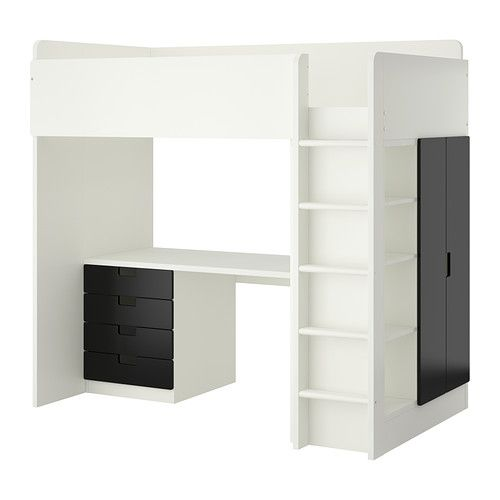 STUVA Combi lit mezz4 tir2 ptes blanc noir Child room