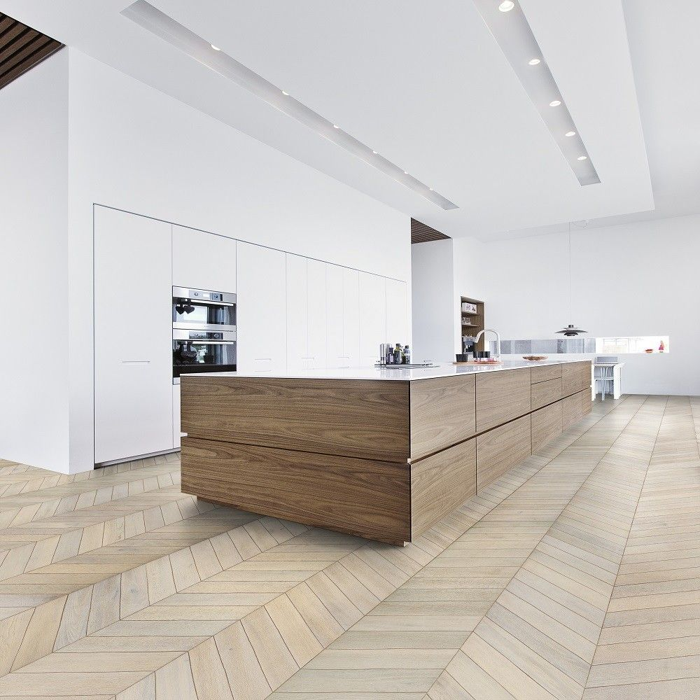KAHRS Chevron Swedish Engineered Wood Flooring Oak White