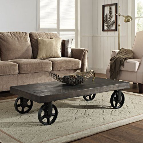 Industrial Casters For Coffee Table: Industrial Wood Coffee Table With Casters In 2019
