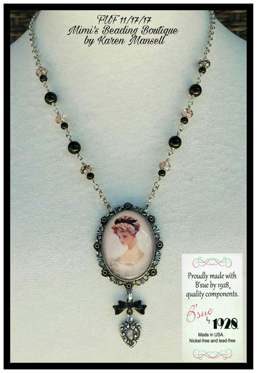 B Sue By 1928 Cameo Mount In Old Silver Was Used In This Beautiful Cameo Necklace Mimi S Beading Boutiqu Filigree Jewelry Cameo Necklace Broken China Jewelry