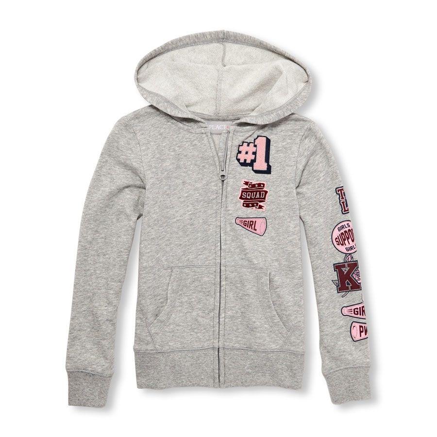 Girls Active Patch Full-Zip Hoodie   Full zip hoodie, Hoodies, Zip hoodie