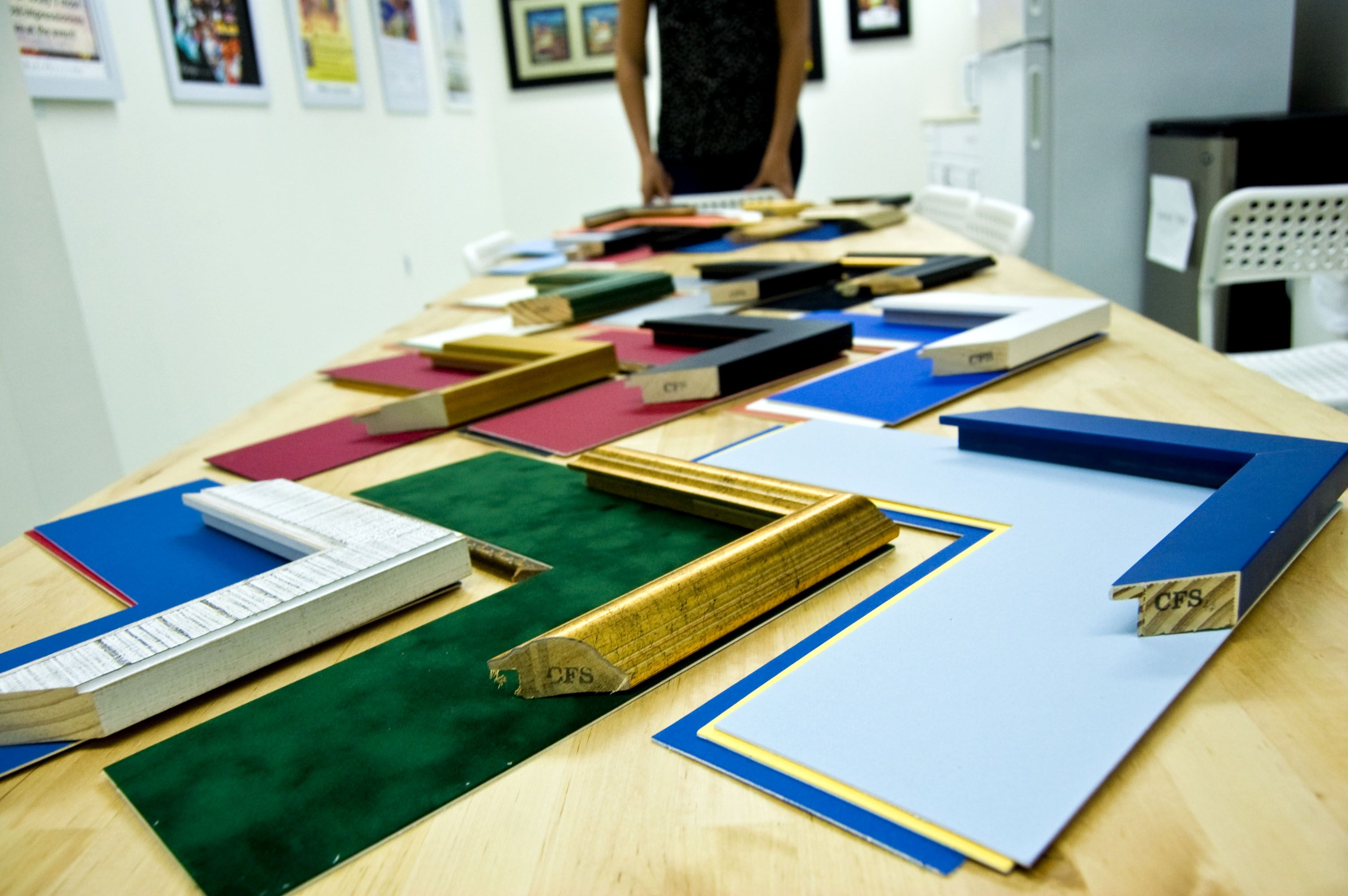 TODAY IN THE GALLERY: We\'re preparing an array of mattes and frames ...