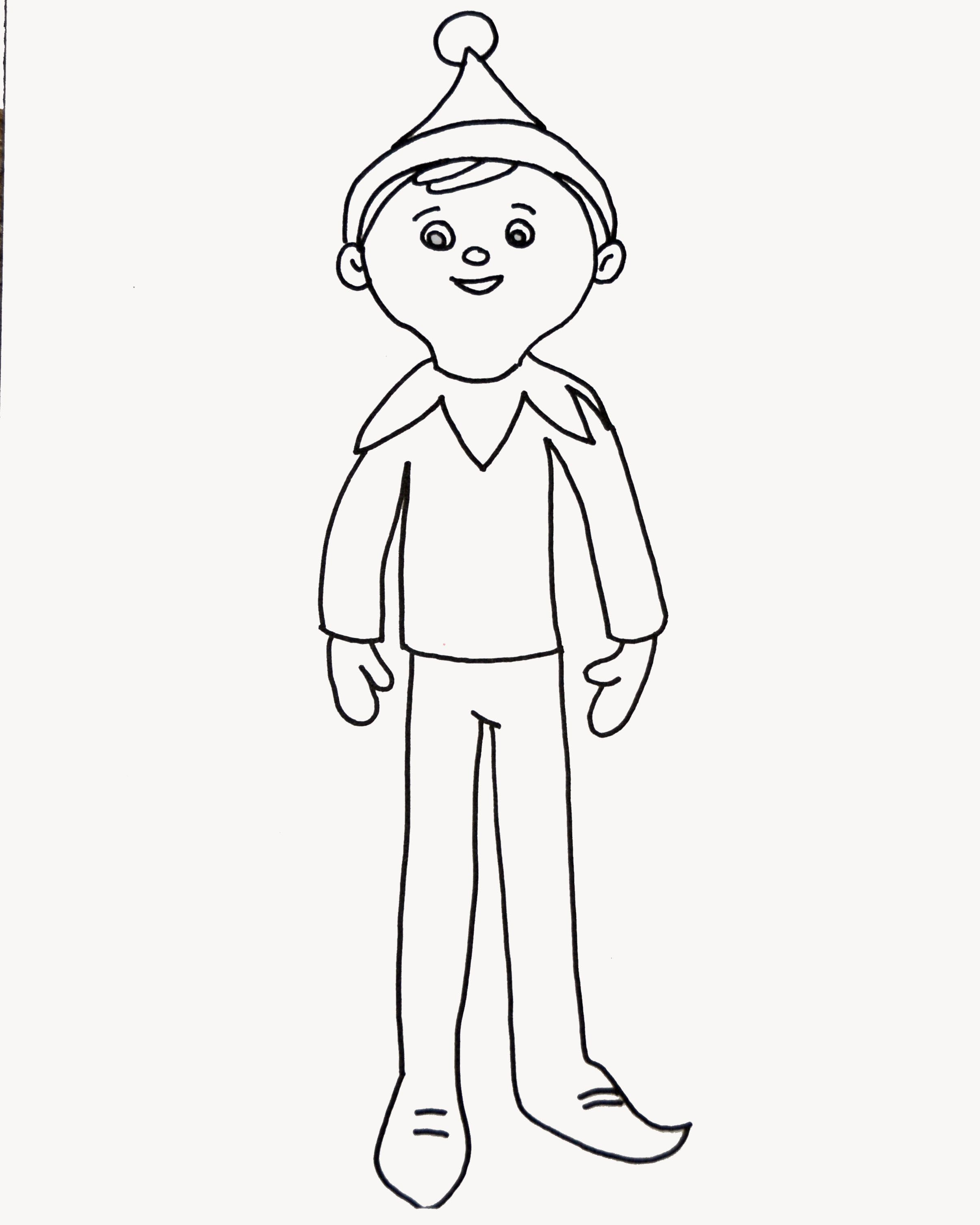 Elf on the shelf coloring page for elfie and the kids to