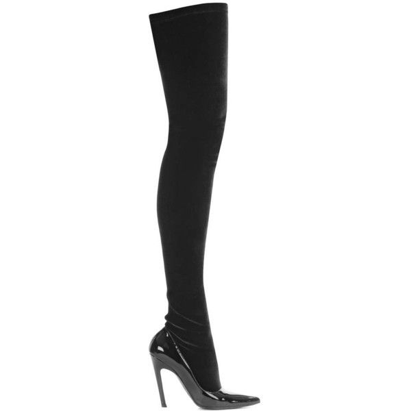 0dd490d5dac6b Balenciaga Velvet and Patent Leather Over-the-Knee Boots (2 715 BGN) ❤  liked on Polyvore featuring shoes, boots, balenciaga, black boots, thigh  high boots, ...