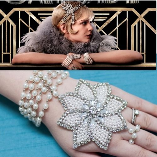 DIY Great Gatsby Pearl Bracelet Applique and Ring Combination Tutorial from M&J here. A great place to find less expensive appliques is in the bridal section of fabric and craft stores. My first clothing splurge was on an authentic 1920s peacock motif beaded dress that I will post when I take a photo that does it justice. For more panja/handpiece type jewelry go here: truebluemeandyou.tumblr.com/tagged/handpiece #mamp;mcostumediy