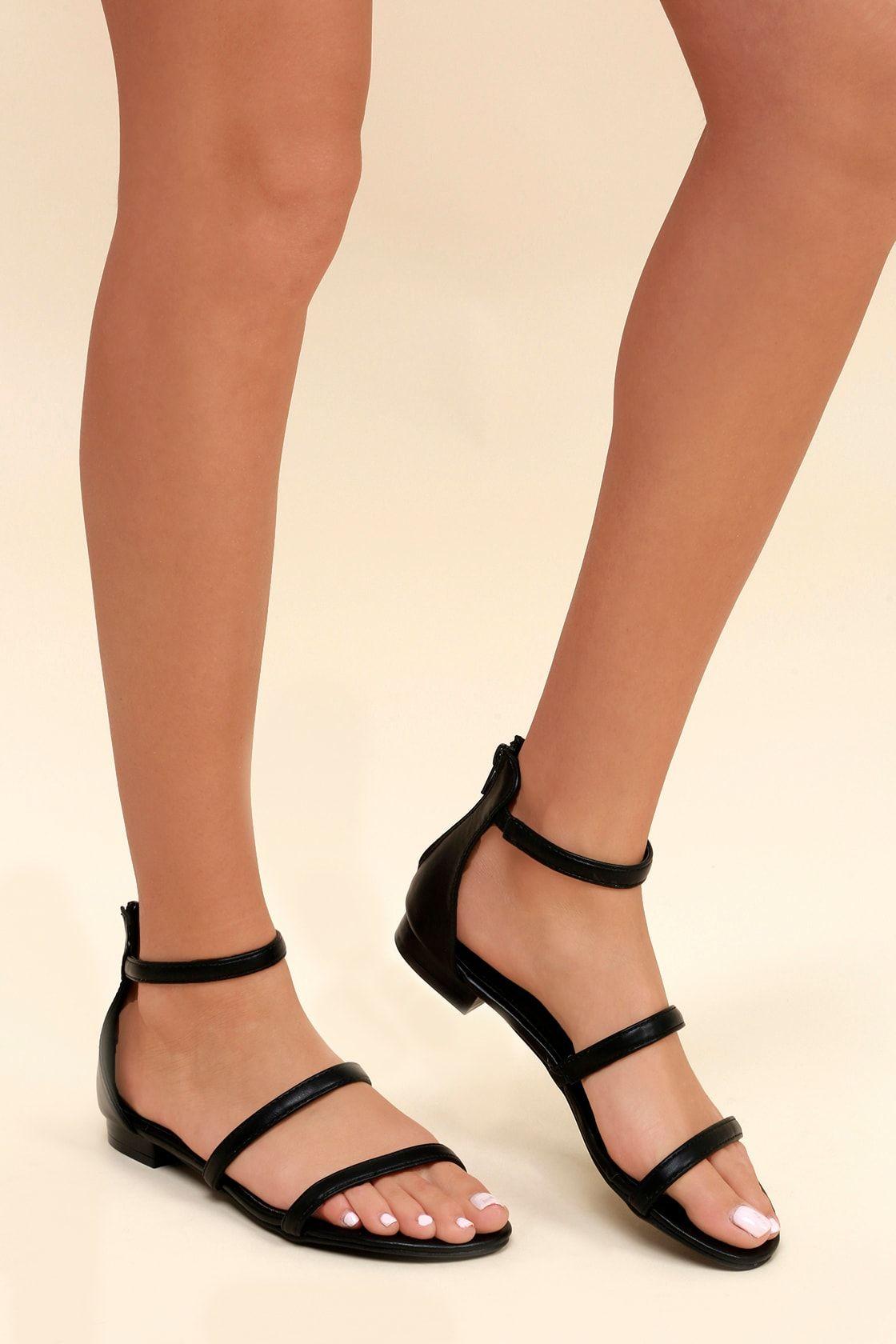 Quin Black Flat Sandals | Black sandals