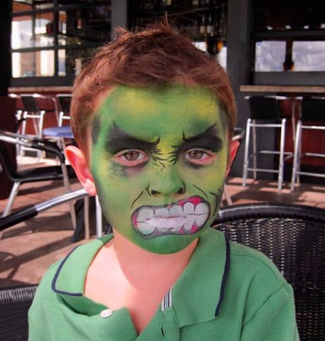 maquillaje-halloween-pintacaras-disfraz-niños-infancia-Hulk - maquillaje de halloween para nios