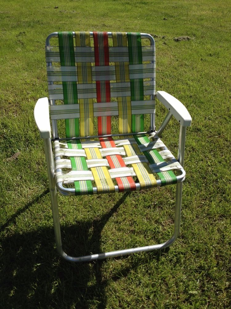 Vtg Aluminum Webbed Folding Chair Beach Lawn Patio Retro Good