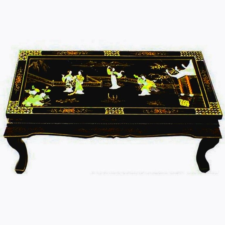 Table Basse Chinoise Laquee Avec Incrustations