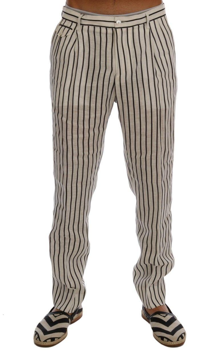 Dolce & Gabbana White Black Striped 100% Linen Pants | Brands Vice