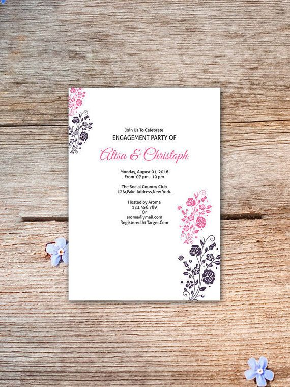 Engagement Party Invitation Template by WeddingTemplateStock
