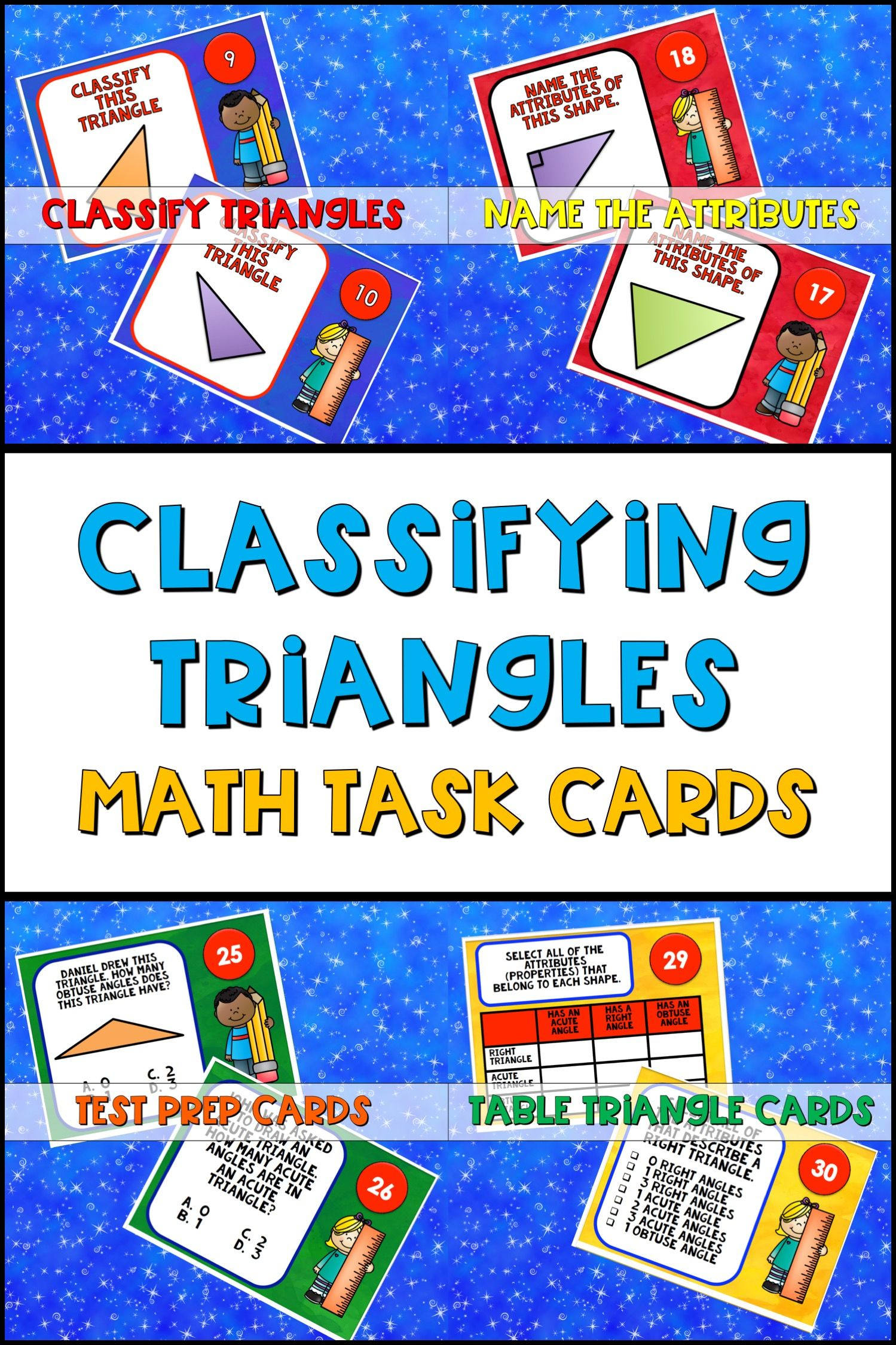 Classifying Triangles Task Cards 4th Grade