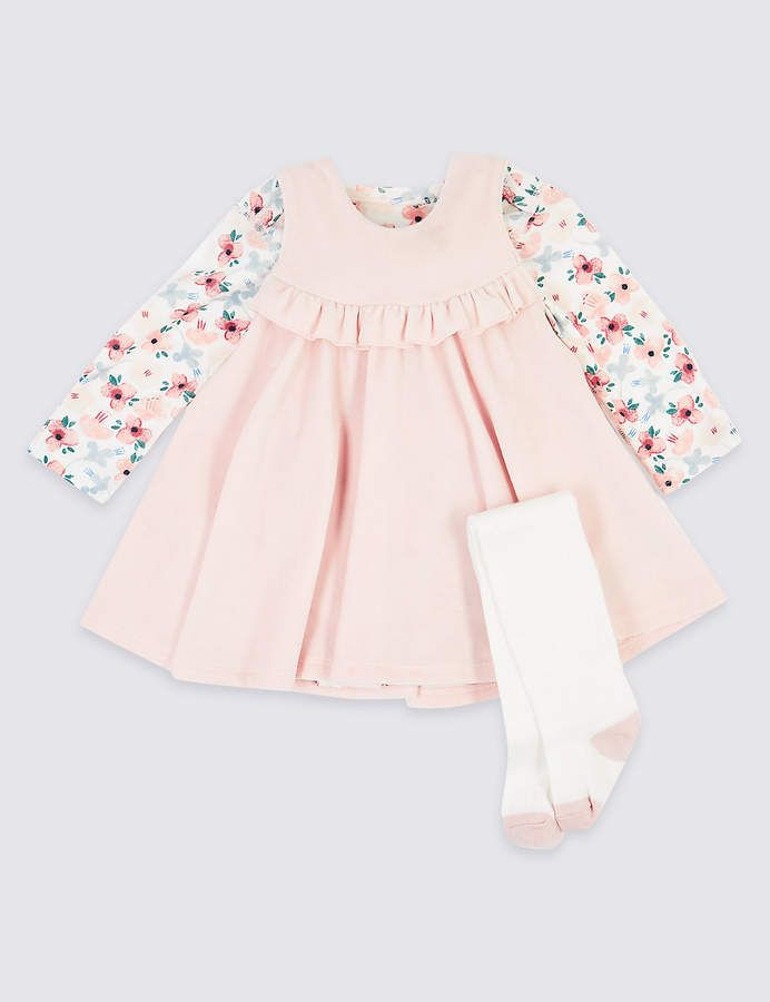Baby M/&S Girls Dress Tights Set Floral Frilly White Marks And Spencers Outfit