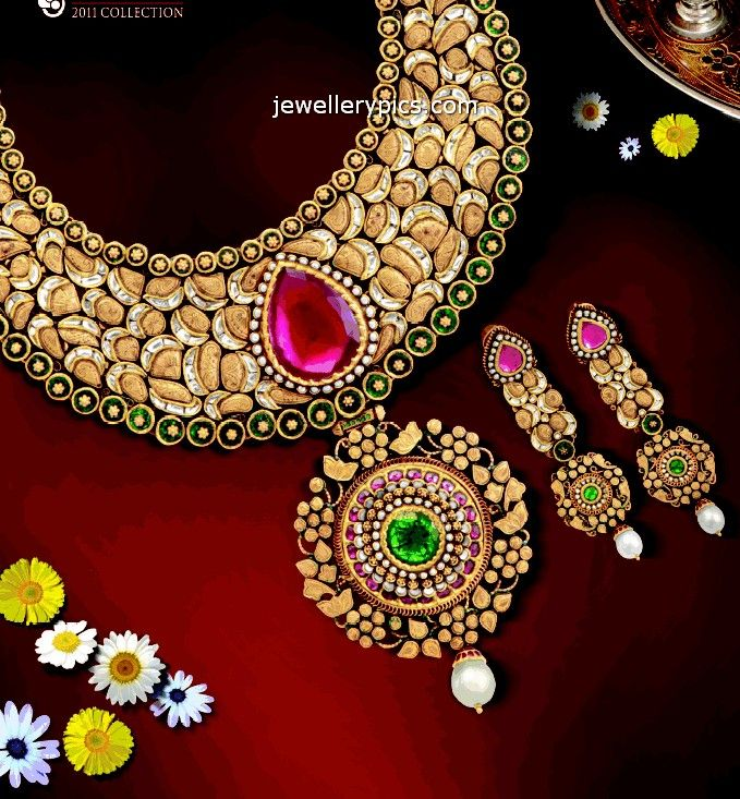 Fabulous Antique necklace set designs by Neelkanth jewellers ...