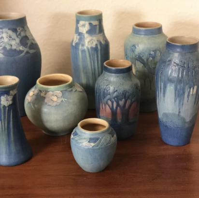 The art pottery produced by Newcomb College has been a collector favorite for many years.  Newcomb art pottery was typically glazed in shades of blue and decorated with natural designs of flowers, trees, and moss and moon bayous.