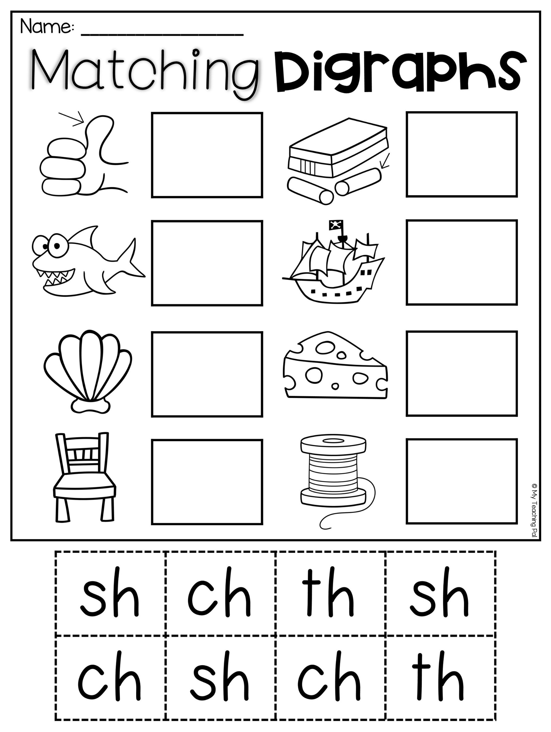Matching Digraphs Worksheet For Sh Ch Th This Packet Is