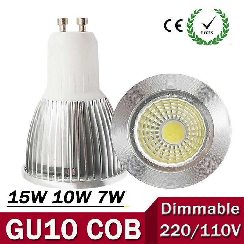Super Bright Gu10 Bulb Light Dimmable Led Ceiling Light Warm White 85 265v 7w 10w 15w Gu10 Cob Led Lamp Dimmable Led Ceiling Lights Dimmable Led Led Spotlight