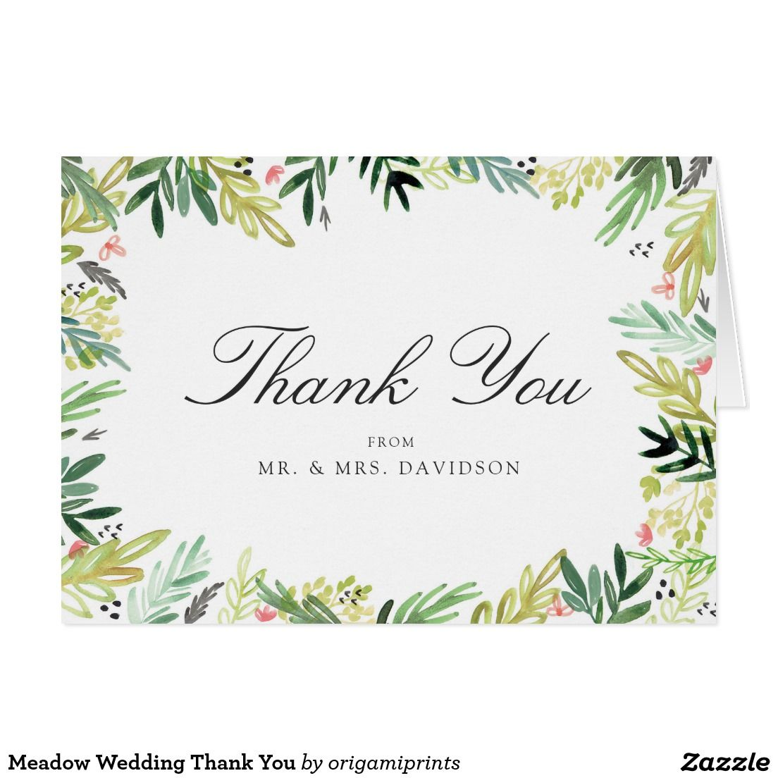 Meadow Wedding Thank You Zazzle Com Thank You Cards Wedding