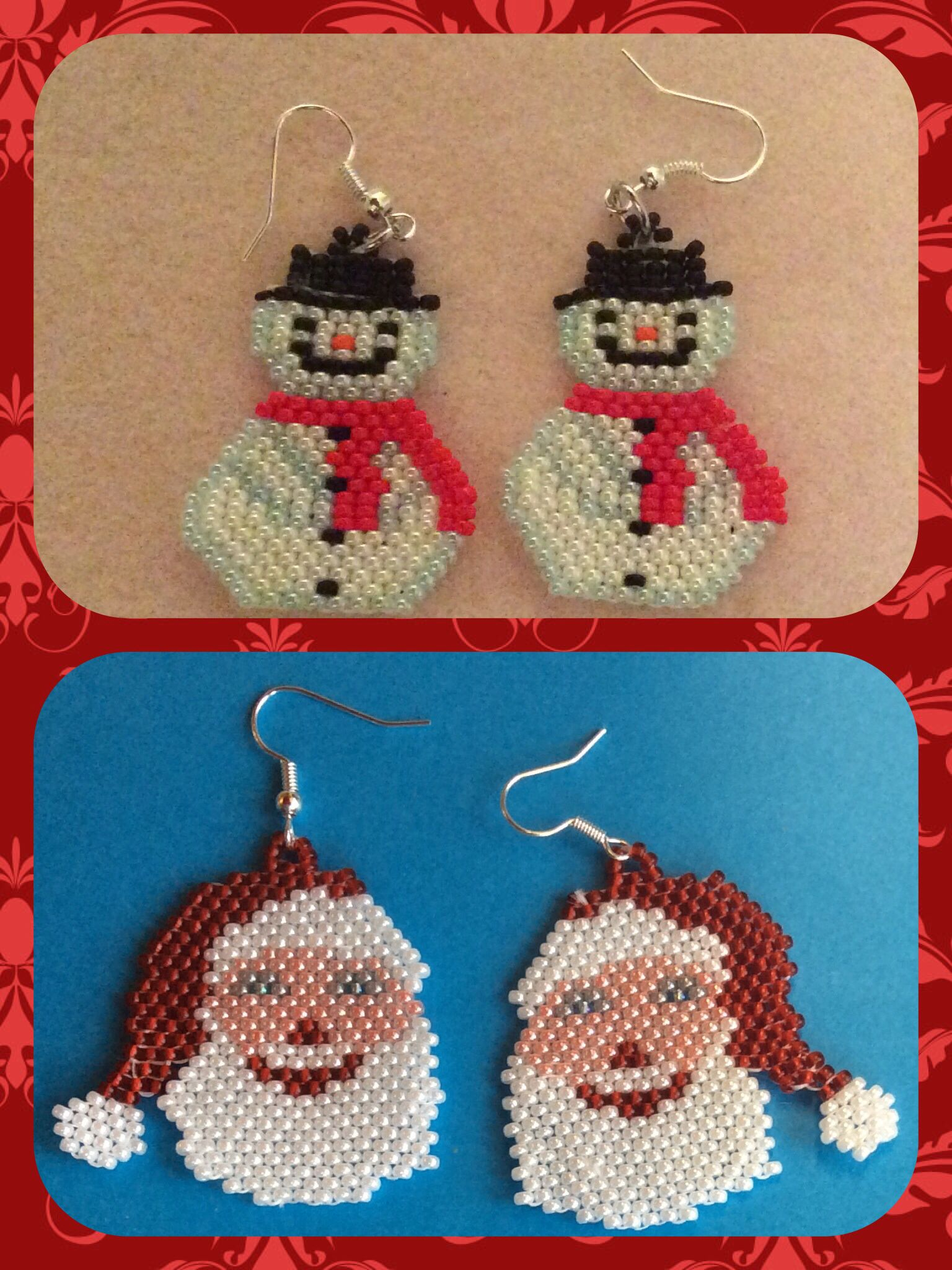 Santa and snowman earrings