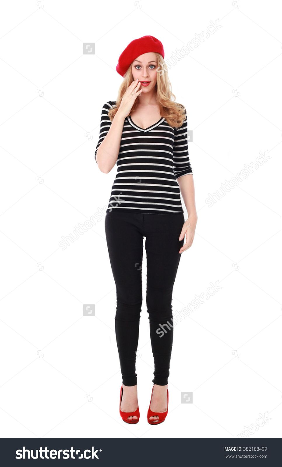 Blonde Woman Wearing Stereotypical French Clothing. Standing Pose ...