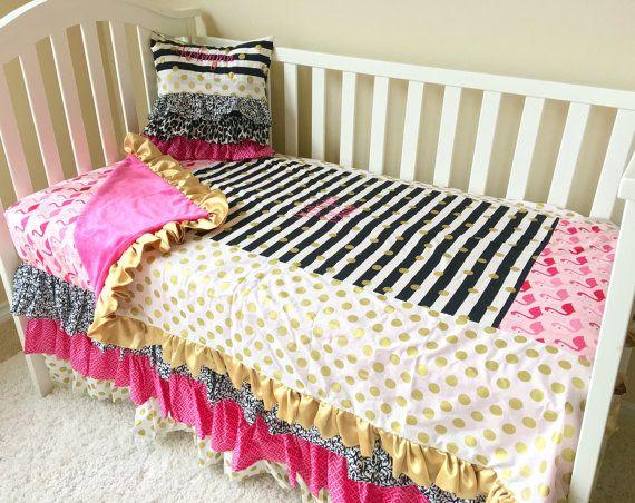 Pink Flamingo Toddler Bedding Gold Dot, Pink And Gold Toddler Bedding Set