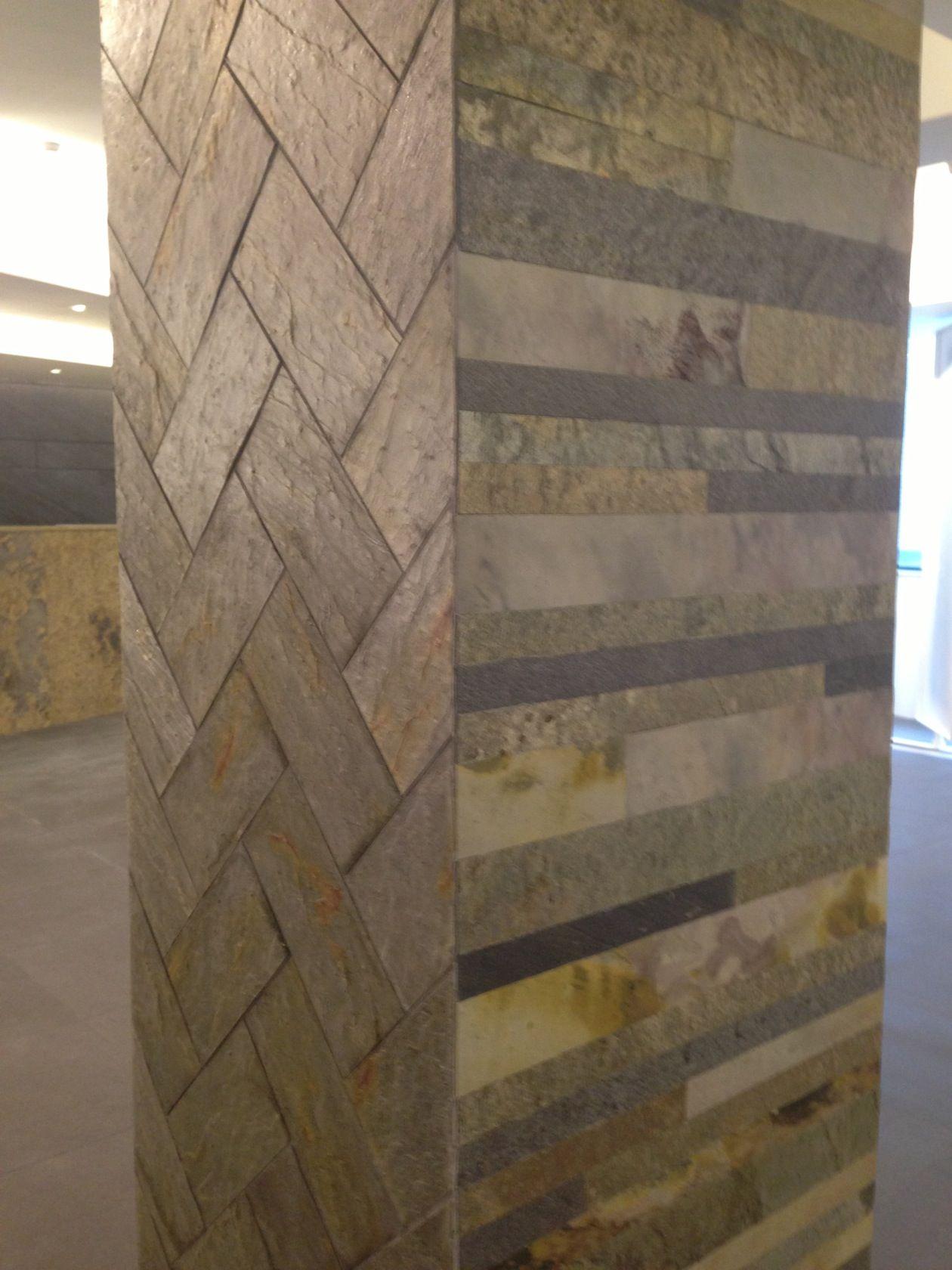 Slate veneer tile sheet wall colu,n cladding, mixed tile pattern ...