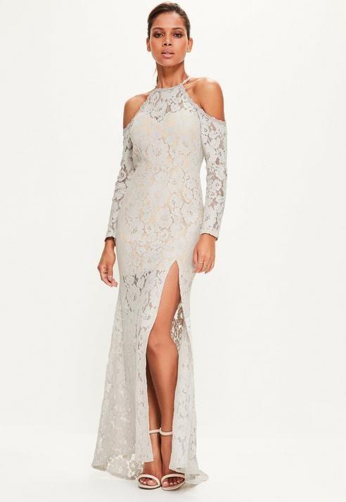 Missguided Grey Lace Cold Shoulder Maxi Dress | Cold shoulder, Grey ...
