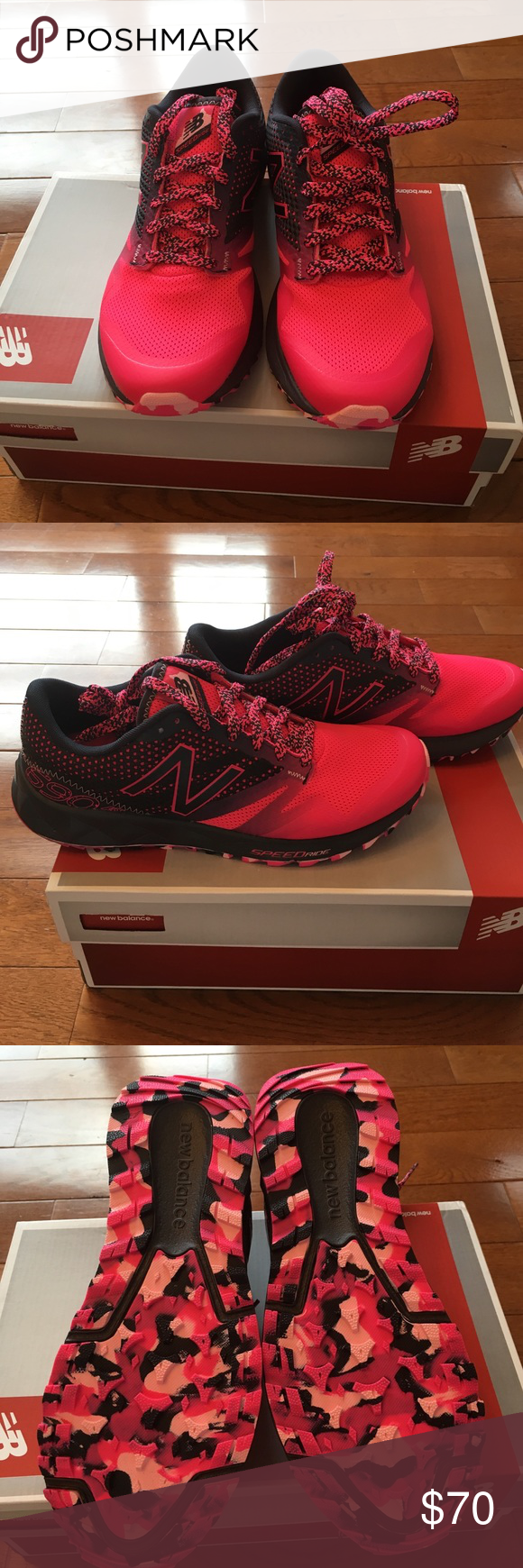 🔴 New Balance Running Shoe New Balance Running/Trail shoe-new in box-ordered wrong size & don't want to pay to ship back-bright pink & black. Make a statement in these!! 🚫lowball offers New Balance Shoes Sneakers
