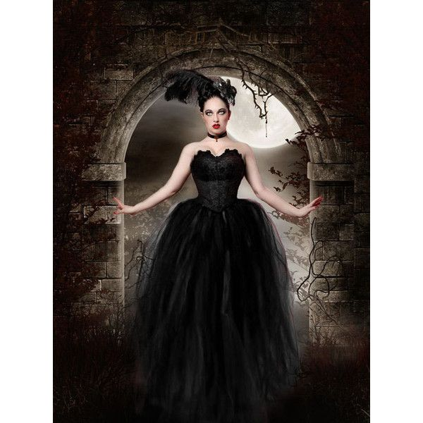 Midnight Gothic Bridal Tulle Skirt Tutu Streamer Floor Length Formal... ($150) ❤ liked on Polyvore featuring costumes, black, skirts, women's clothing, adult women costumes, plus size womens halloween costumes, adult cat costume, plus size costumes and womens costumes