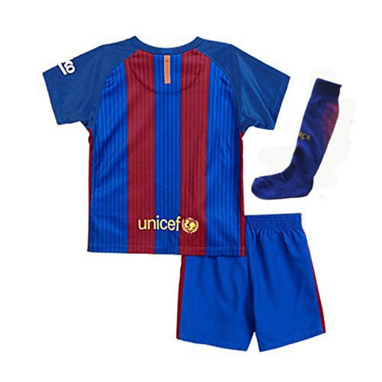 e1a842a71b5 ... Nino Top 2017 Barcelona Messi Youth Home Kit Shirt+Short+Socks Kids  Soccer Jersey 2016 ...