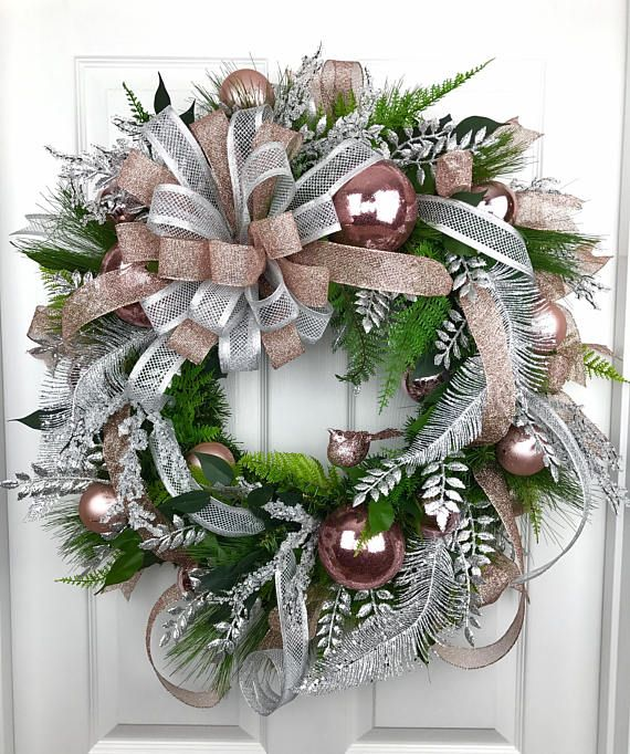 Christmas Wreath, Rose Gold Christmas, Rose Gold Decor ...