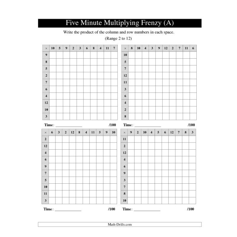 Multiplication Worksheet -- Five Minute Multiplying Frenzy -- Four - subtraction frenzy worksheets