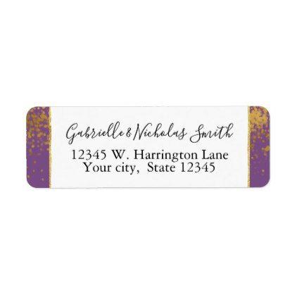 purple gold confetti dots label gold confetti confetti and return