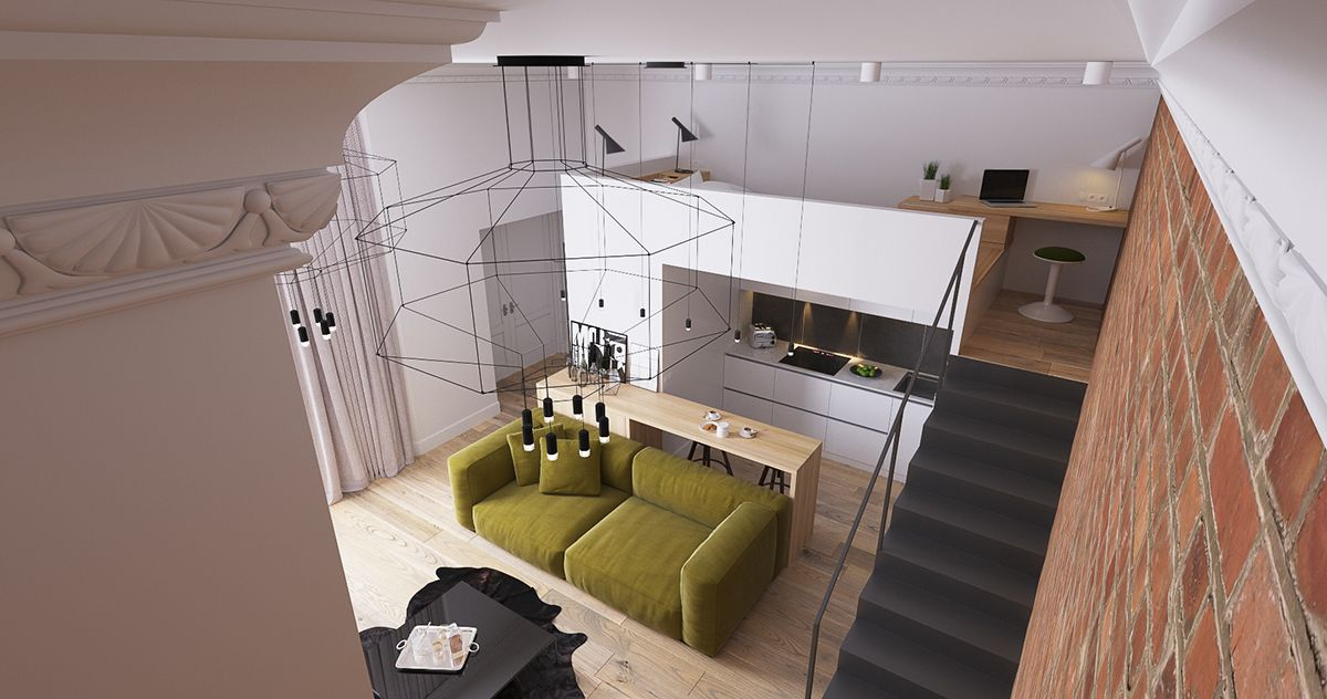 A Small Apartment In London With A Ceiling Height Of 3 8 Meters Due To This It Was Possible To Arrange A Mezzanine London Apartment Apartment Small Apartments