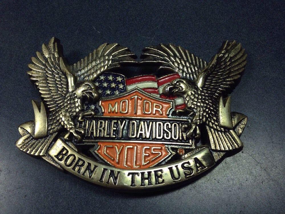 Vintage Baron USA Harley Davidson Motorcycles Belt Buckle Made in U